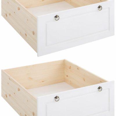 Zestaw dwóch szuflad pod łóżko z dekoracyjnymi uchwytami