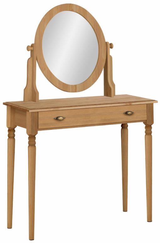 Romantyczna toaletka z lustrem, sosnowa