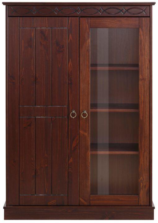 Kolonialna witryna z sosny z przeszklonymi drzwiami
