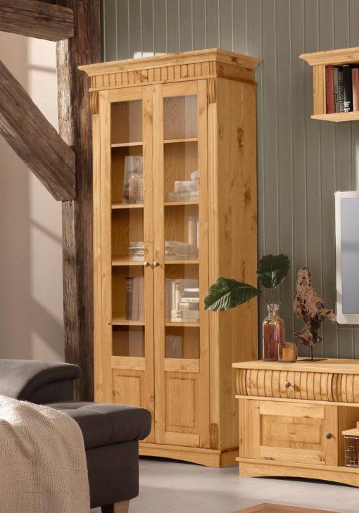 Piękna, sosnowa witryna z przeszklonymi drzwiami