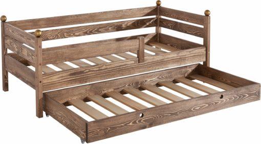 Piękne, kolonialne łóżko dziecięce z dodatkową szufladą