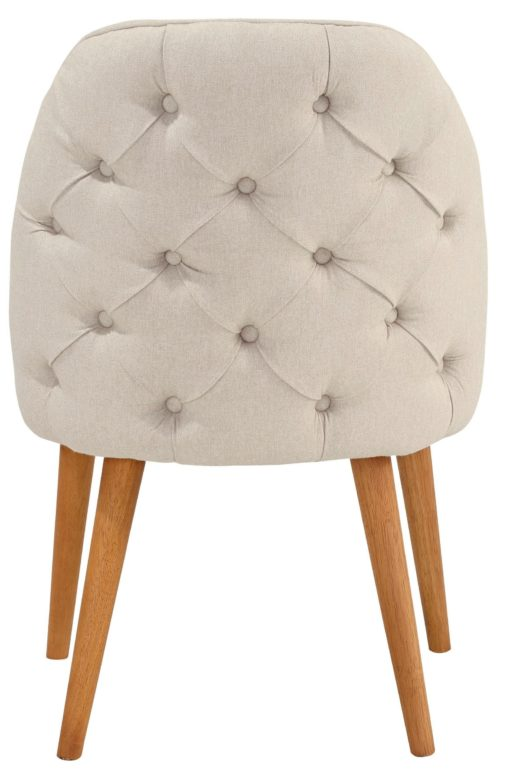 Designerski, beżowy fotel, rama i nogi z brzozy