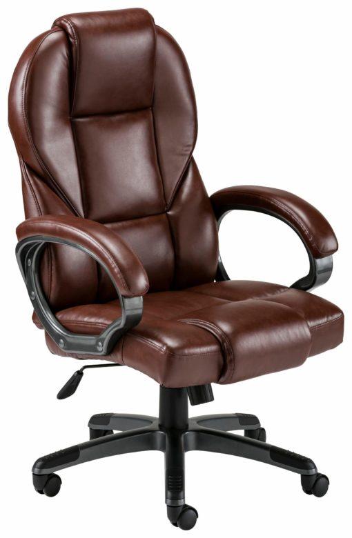 Obrotowy fotel biurowy ze sztucznej skóry - brązowy/bordowy