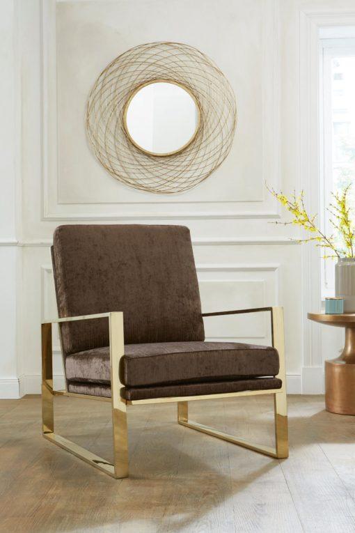 Modernistyczny fotel ze złotą ramą, brązowy