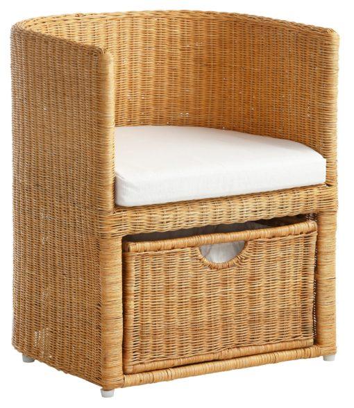 Piękny, rattanowy fotel z szufladą