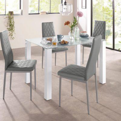 Nowoczesne, szare krzesła na metalowej ramie - 2 sztuki