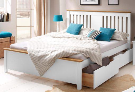 Eleganckie sosnowe łóżko 160x200 cm