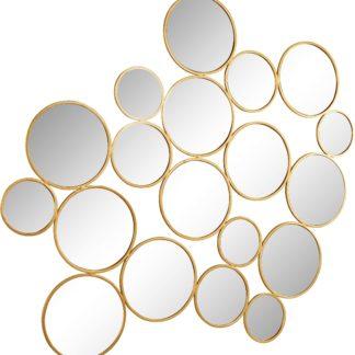 Dekoracyjne kręgi lustrzane w złotej ramie