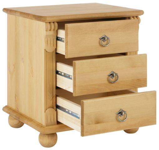 Sosnowa szafka nocna z toczonymi nóżkami