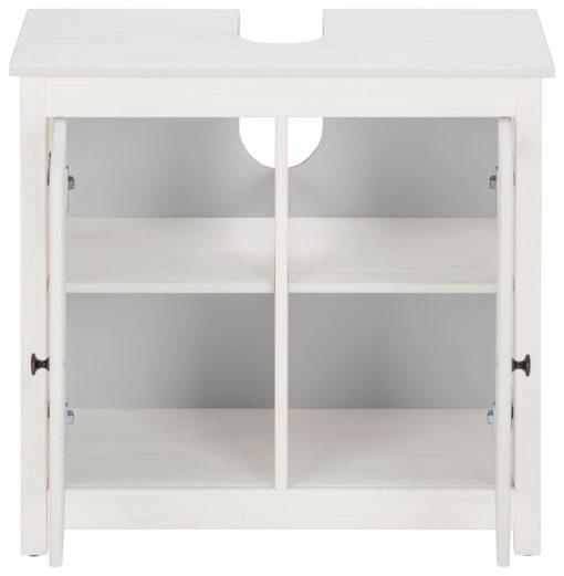 Piękna, sosnowa szafka pod umywalkę, biała