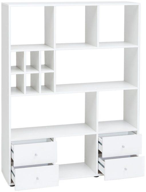 Praktyczny regał z półkami i szufladami