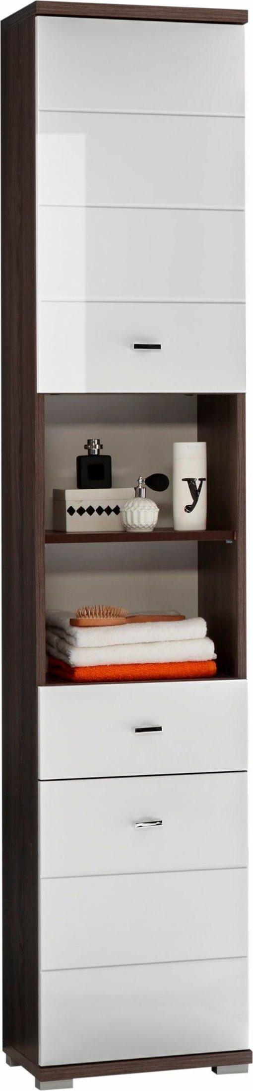 Wysoka szafka łazienkowa/ słupek, biel + wiąz