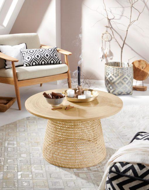 Dekoracyjny stolik kawowy z bambusowym blatem