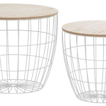 Zestaw dwóch nowoczesnych stolików, metal + drewno