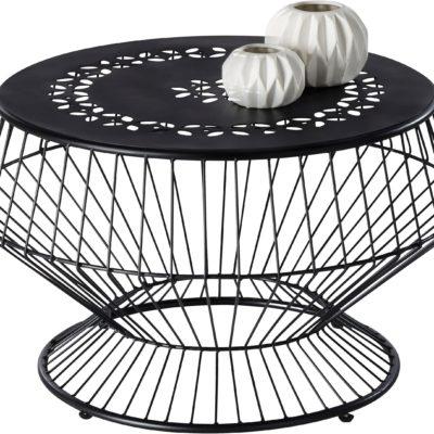 Dekoracyjny stolik z metalu, czarny