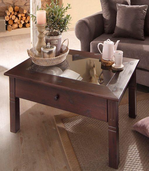 Uroczy, sosnowy stolik z szufladą, w kolorze kolonialnym