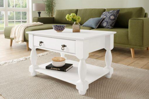 Szykowny stolik z szufladą i toczonymi nogami