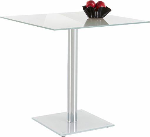 Nowoczesny, szklany stół z metalową nogą