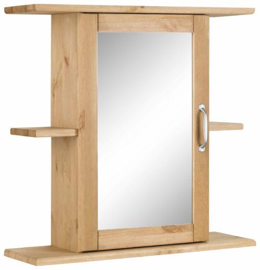Sosnowa szafka łazienkowa z lustrem i półkami