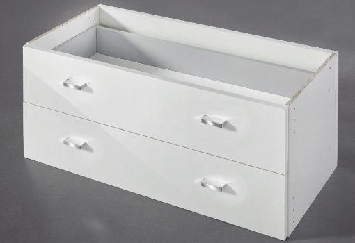 Zestaw dwóch szuflad np. do regału - biały połysk