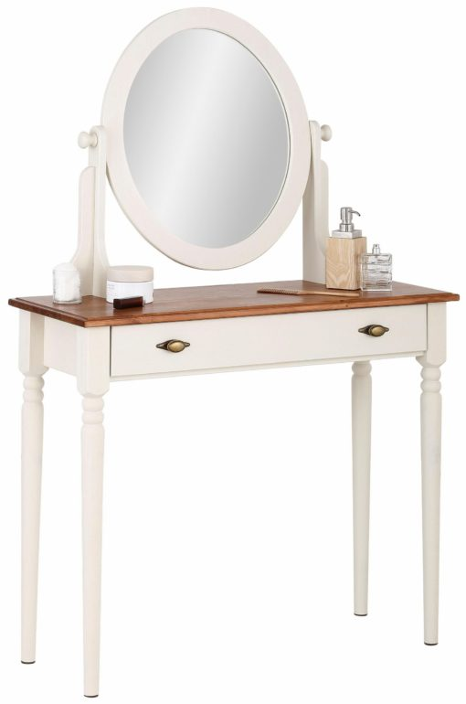 Romantyczna toaletka z lustrem, biel +miód