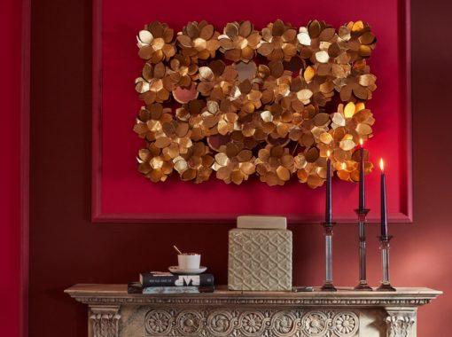 Ekskluzywna dekoracja ścienna - złote kwiaty