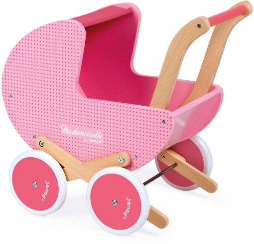 Słodki różowy wózek dla lalek