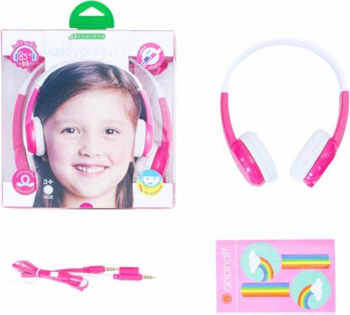 Świetne słuchawki nauszne składane biało-różowe