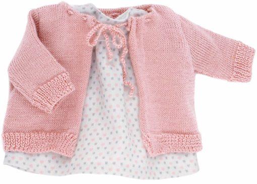 Urocza sukienka i pleciony sweterek dla lalki