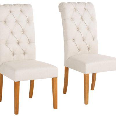 Eleganckie krzesła z pikowaniem i kołatką z tyłu