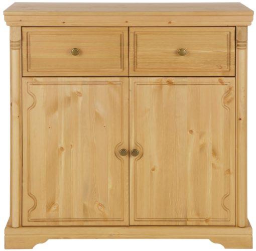 Rustykalna, sosnowa komoda z szufladami i półką