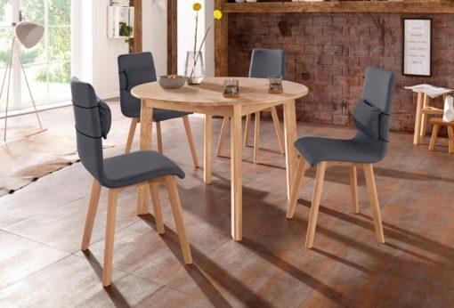 Nowoczesne krzesła z dębową ramą i nogami - 4 sztuki