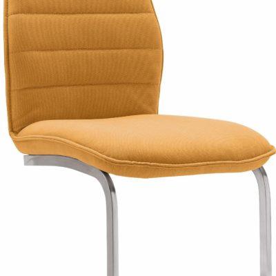 Zestaw krzeseł na płozach, w kolorze musztardowym - 4 sztuki