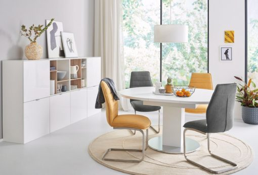 Zestaw krzeseł na płozach, w kolorze musztardowym - 2 sztuki