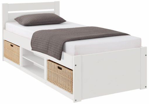 Atrakcyjne, sosnowe łóżko z przedziałami na koszyki