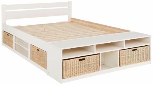 Łóżko 140x200 cm z przedziałami i miejscem do przechowywania