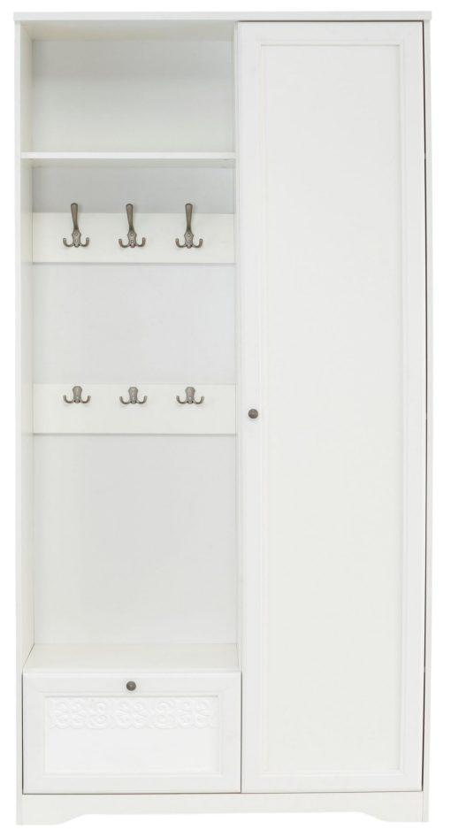 Kompaktowa, biała szafa o prostym designie