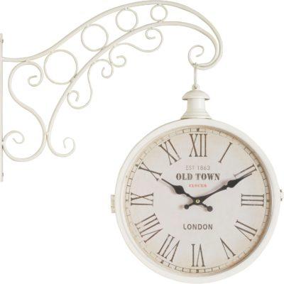 Charakterystyczny i urokliwy biały zegar ścienny stylizowany na antyk