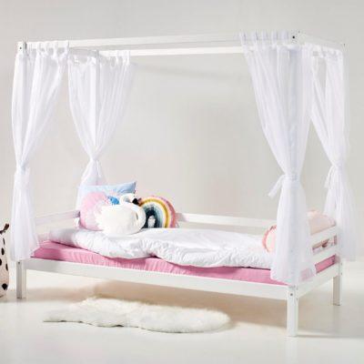 Sosnowy baldachim z zasłonami do łóżka dziecięcego