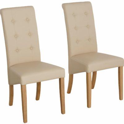 Eleganckie, tapicerowane krzesła w kolorze beżowym