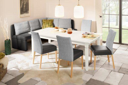Sosnowy, rozkładany stół 160 cm w kolorze białym