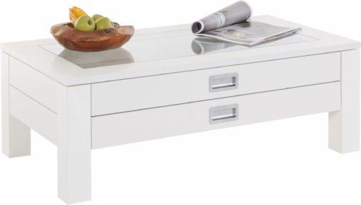 Funkcjonalny stolik kawowy z dwiema szufladami, biały