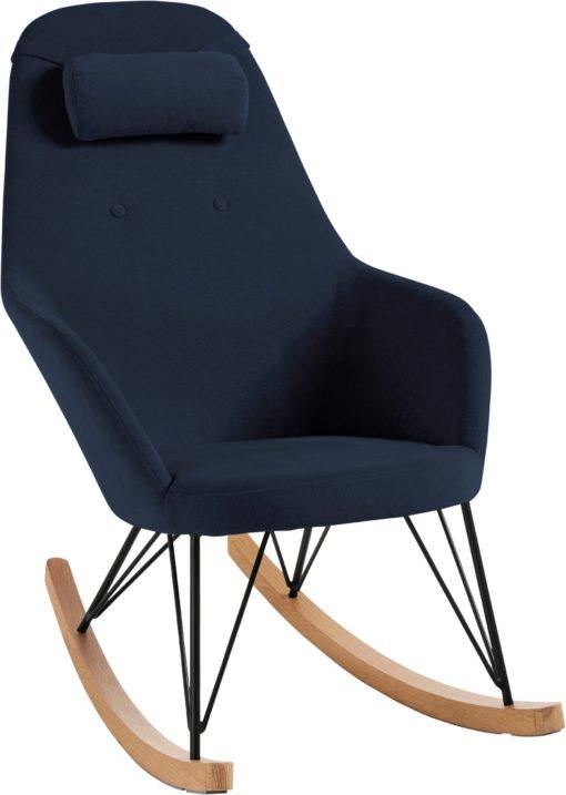 Nowoczesny fotel bujany w skandynawskim stylu - granatowy