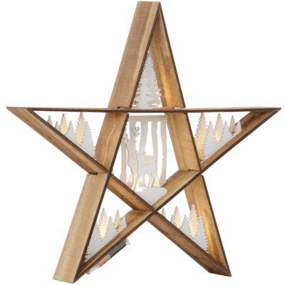 Ozdobna, drewniana lampka LED z zimowym akcentem