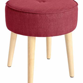 Stylowy hoker na drewnianych nogach, w odcieniach czerwieni
