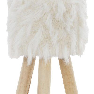 Extra modny, włochaty hoker na drewnianych nóżkach
