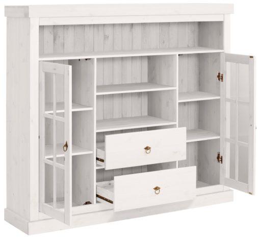 Piękna komoda z przeszklonymi półkami i szufladami