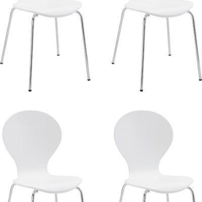 Zestaw 6 białych krzeseł w minimalistycznym, ponadczasowym designie