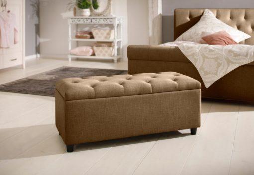 Tapicerowana ławka ze schowkiem i siedziskiem, brązowa