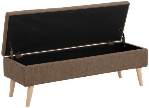 Stylowa, tapicerowana ławka ze schowkiem - brązowa